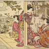 Three Yoshiwara women on the veranda of a joroya, admiring the autumn full moon