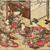 Group of four Yoshiwara women in a room in a joroya.  Two are looking up famous poems in books, a third is writing them upon narrow slips of colored paper (tanjaku), and the fourth is tying them upon a bamboo tree, which is thus being decorated fo rthe Tanabata festival (seventh day of the seventh month)