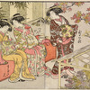 Three Yoshiwara women at a chrysanthemum show