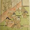 Two boys on the floor of a room fighting over a game of sugoroku and a third running forward to pacify them.  Across the engawa branches of a blossoming ume tree appear