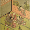 A group of five boys seated on the floor of a house playing fortune drawing (Fukubiki), while a sixth boy dances about behind them holding up a string of cash