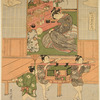Inside a house a young girl before offerings set out before dolls representing the Emperor and Empress. Outside two boys are carrying a doll princess in a toy norimon, while a third boy holds a broom as a processional insignia.  Hina no Sekku - The Festival of Dolls