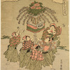 A group of five boys by the side of a stream, dancing around a lantern used in Shinto processions (Mando) which is decorated with peonies and other flowers and placed on a table fastened to a pole