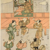 A youth is shown in a house making offerings before a figure of Ebisu, and outside seven boys are blowing soap bubbles.  Ebisu-ko - The Festival of Ebisu (Provider of Daily Food)