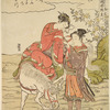 A girl on horseback stopping while fording the stream, to get a light for her pipe from a young man who stands in the water