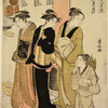 Three women and a small boy on their way to a Shinto temple, passing  by the red post of the torii
