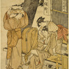 A woman stealing a love letter from a young man who is sitting on a wooden bench before a tea house (chamise)