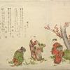 Three children gathering dandelions