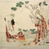 Seiobo looking at a painting of a branch of the peach tree of longevity upon which blossoms and fruit are borne at the same time