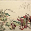 Three women in animated conversation with another who is seated by a rapid stream washing green leaves in a large basket