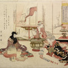 A geisha entertaining a man by playing a tune upon bowls and cups set in a row on the floor.  A second geisha is fixing the charcoal fire in a large hibachi.  In an open cupboard at the back are books, bronze flower vases  and kakemono