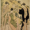 Ushiwaka (afterward called Yoshitsune) serenading Jururihimi, daughter of Kiichi Hogen.  Lef-hand sheet of a triptych
