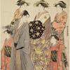 The oiran Hanaogi of Ogiya in the Yoshiwara parade accompanied by her kamuro Yoshino and Tatsuta