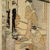 The shoji of a house pushed aside giving a view of the interior, showing a woman arranging narcissus in a flower basket and two other woman standing beside her conversing
