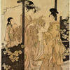 A nobleman and a lady at a garden gate, the lady offering him vine leaves and flowers upon a fan