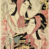 Two geishas dancing the pony dance (harugoma)