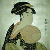 Half length figure of a woman holding a round fan (uchiwa)