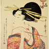 Large head and bust of an oiran holding a pipe