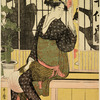 A woman seated on a wooden bench outside a tea-house.  Behind her the shadows of women within the house appear upon the shoji which are slightly pushed aside  and through the opening an attendant is handing out a kettle of sake