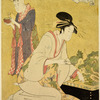 Yashio of Ogiya trimming the plants in a bonsai.  Behind her a girl holding a bonsai representing a farmer in a rice field