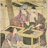 Women cutting mulberry leaves and feeding the young silk-worms