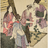 Women feeding silk-worms with mulberry leaves