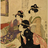 Group of three women seated about a small stand piled with sweetmeats