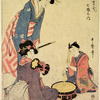 A girl beating a drum, accompanied by a woman playing a tsuzumi, while another woman holding a flute listens to them