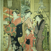 The good and evil influences.  Street scene is Yoshiwara - in the foreground an evil influence threatens one of the good ones with a stick
