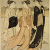 Two groups of women on the bank of the river Sumida