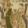 The oiran Utahime of Matsubaya and Shezen of Choshiya with their kamuro and other women viewing the cherry trees in bloom