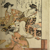 The oiran Adzumaya and Kokonoye and attendants in the house called Matsukaneya