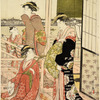 A party of merrymakers at a tea-house at Fukagawa on the bank of the river Sumida