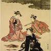 A young man and five women masquerading as the famous poets of the olden times. (Furyu Rokkasen)