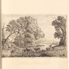 "Mounted ink drawing of a pastoral scene, signed ""C.H.P."", leaf 6 (recto)"