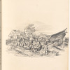 """Ink rural scene with farmer and children, signed """"C.P."""", leaf 17 (recto)"""
