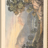 """Mounted watercolor landscape with trees, lake and mountains, signed """"M. Thornicraft 1822"""", leaf 24 (recto)"""