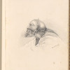 "Mounted pencil drawing of an old man in profile, signed ""Eliz.th Horsley"", leaf 25 (recto)"