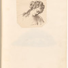 "Mounted ink drawing of a lady, signed ""C.H.P."", leaf 34 (recto)"