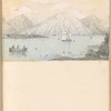 Mounted pencil lake view with sailboats, mountains, leaf 36 (recto)