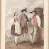 Watercolor of woman and two men in rural setting, leaf 42 (recto)