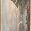 Mounted watercolor lake view with row-boats and mountains, leaf 48 (recto)