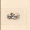 """Mounted pencil landscape with bridge over water, signed """"Wood Wor.r"""", leaf 49 (recto)"""