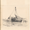 """Mounted ink drawing of a beached sailboat, signed """"L. Paget"""", leaf 50 (recto)"""
