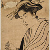 An oiran standing and another seated, reading a letter