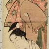 Prince Genji and a lady on a veranda looking at morning glories