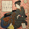 Woman with book and rat (Daikokuten?)