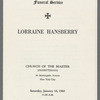 Lorraine Hansberry funeral program, [cover]