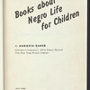 Books about Negro Life for Children: 1949