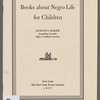 Books about Negro Life for Children: 1957